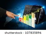 smart hand touch on 3d graph... | Shutterstock . vector #107835896