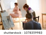 young female artists sketching... | Shutterstock . vector #1078359983