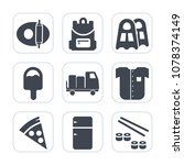 premium fill icons set on white ... | Shutterstock .eps vector #1078374149