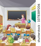 teacher in class | Shutterstock . vector #1078389206