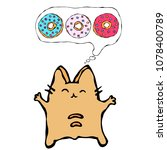 savoyar the cat thinking... | Shutterstock .eps vector #1078400789