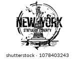 statue of liberty  new york.... | Shutterstock .eps vector #1078403243