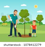father and the son plant trees... | Shutterstock .eps vector #1078412279