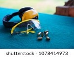 protective glasses and ears on... | Shutterstock . vector #1078414973