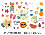 big set of cute funny animals... | Shutterstock .eps vector #1078415720