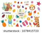 big set of cute funny animals... | Shutterstock .eps vector #1078415723