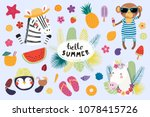 big set of cute funny animals... | Shutterstock .eps vector #1078415726
