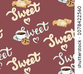 sweet coffee and biscuits... | Shutterstock . vector #1078422560