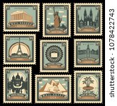 vector set of postage stamps on ... | Shutterstock .eps vector #1078422743
