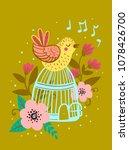 postcard birdie sitting on a... | Shutterstock .eps vector #1078426700