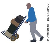 hard worker pushing wheelbarrow ... | Shutterstock .eps vector #1078428470