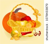 fruits in a basket healthy... | Shutterstock .eps vector #1078433870