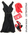 Small photo of Elegant little women's black dress and red accessories for special date or holiday. Cocktail dress outfit, night outlook on white background. Little black dress, red clutch, shoes and shawl. Flat lay.