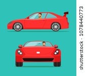 red sport car two angle set.... | Shutterstock .eps vector #1078440773