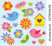 Stock vector birds and flowers vector set of stickers 107844638