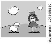 little girl with curls and lamb | Shutterstock . vector #1078458980