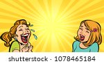 two cheerful girlfriend girls... | Shutterstock .eps vector #1078465184