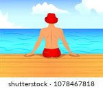 vector of man sitting its back...   Shutterstock .eps vector #1078467818