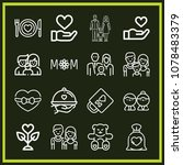 set of 16 love outline icons... | Shutterstock .eps vector #1078483379