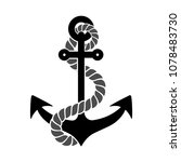 black silhouette of an anchor... | Shutterstock .eps vector #1078483730