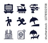 set of 9 travel filled icons... | Shutterstock .eps vector #1078502558