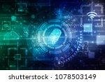 fingerprint scanning technology ... | Shutterstock . vector #1078503149