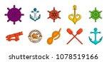 sea element icon set. color... | Shutterstock .eps vector #1078519166
