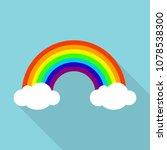 rainbow icon. flat illustration ... | Shutterstock .eps vector #1078538300