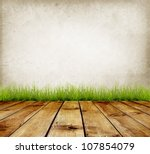 old wall and green grass on... | Shutterstock . vector #107854079