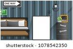 mock up poster frame in bedroom ... | Shutterstock .eps vector #1078542350