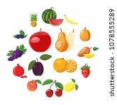 fruit icons set in cartoon... | Shutterstock .eps vector #1078555289