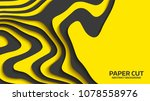 black and yellow wave. abstract ... | Shutterstock .eps vector #1078558976