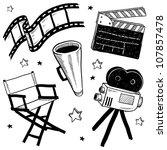 doodle style movie set... | Shutterstock .eps vector #107857478