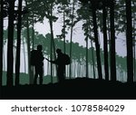 tourists  man and woman with... | Shutterstock .eps vector #1078584029