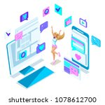 isometry cool girl teenager ... | Shutterstock .eps vector #1078612700