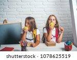 school time of girls.... | Shutterstock . vector #1078625519