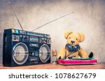 retro teddy bear toy with... | Shutterstock . vector #1078627679