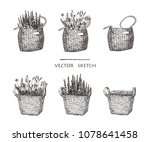 vector illustration. wicker... | Shutterstock .eps vector #1078641458