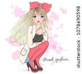 Stock vector hand drawn beautiful cute cartoon street fashion girl vector illustration 1078690598