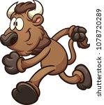 running cartoon bison. vector... | Shutterstock .eps vector #1078720289