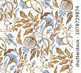 beautiful flowers  seamless... | Shutterstock . vector #1078729874