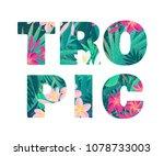 tropic lettering. retro vector... | Shutterstock .eps vector #1078733003