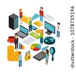 isometric businesspeople design  | Shutterstock .eps vector #1078735196