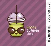 cute smoothie with sunglasses... | Shutterstock .eps vector #1078735796