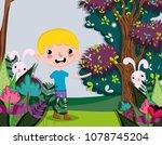cute boy at forest | Shutterstock .eps vector #1078745204