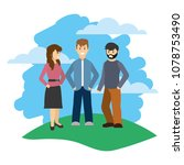 friends men and woman with... | Shutterstock .eps vector #1078753490