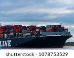 the cargo ship on the river in... | Shutterstock . vector #1078753529