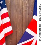 Small photo of USA flag and UK Flag background.Relations, diplomacy between States.