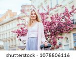pretty blond hair elegant woman ...   Shutterstock . vector #1078806116