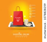 shopping online on website or... | Shutterstock .eps vector #1078828259